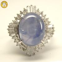 Pt(プラチナ) 天然スターサファイア ダイヤモンド 指輪 豪華