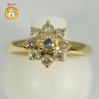K18 ゴールド ダイヤモンド 0.30ct 指輪 フラワー 美品 新品仕上済