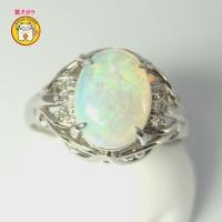Pt900  プラチナ オパール 1.19ct  ダイヤモンド 0.06ct  指輪