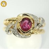 K18 Pt900 ルビー 0.66ct ダイヤ 0.14ct 指輪 美品