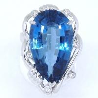 Pt900 プラチナ ブルートパーズ ダイヤ 指輪