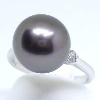 Pt900 プラチナ 黒真珠 ダイヤモンド 指輪