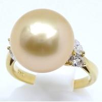 K18 ゴールド 南洋真珠 12.6ミリ ダイヤモンド 指輪 鑑別書付
