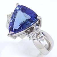 Pt900 プラチナ 天然 タンザナイト 3.61ct ダイヤモンド 0.41ct  指輪 鑑別書付 美品 新品仕上済