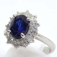 Pt900 プラチナ 天然 サファイア 2.54ct ダイヤモンド 0.84ct  指輪 鑑別書付 美品 新品仕上済