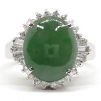 Pt900 プラチナ 天然 翡翠 3.73ct ダイヤモンド 0.43ct  指輪 ソーティング付 美品 新品仕上済