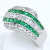 Pt900 プラチナ エメラルド 0.97ct ダイヤモンド 0.68ct  指輪 美品 新品仕上済