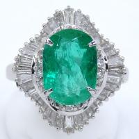 Pt900 プラチナ 天然 エメラルド 2.80ct ダイヤモンド 1.60ct  指輪 鑑別書付