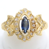 K18 ゴールド サファイヤ 0.35ct ダイヤモンド 0.30ct 指輪