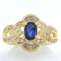 K18 ゴールド サファイア  0.76ct ダイヤモンド 0.35ct 指輪