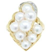 K18 ゴールド Pt900 プラチナ 真珠 パール ダイヤ 0.03ct  指輪