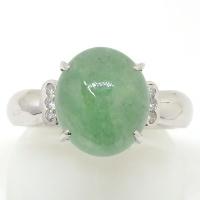 Pt900 プラチナ 天然ジェイダイト:4.52ct ダイヤモンド 0.06ct 指輪 ソーティング付