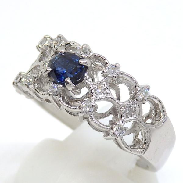 画像2: Pt900 プラチナ サファイア 0.48ct ダイヤモンド 0.17ct 指輪