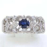 Pt900 プラチナ サファイア 0.48ct ダイヤモンド 0.17ct 指輪