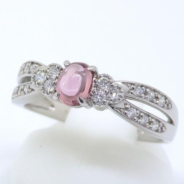 画像2: Pt900 プラチナ パパラチヤ・サファイア 0.423ct ダイヤモンド 0.14ct 指輪 鑑別書付