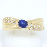 【田崎真珠】タサキ K18 ゴールド サファイア 0.41ct ダイヤモンド 0.20ct 指輪