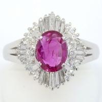 Pt900 プラチナ ルビー ダイヤモンド   指輪
