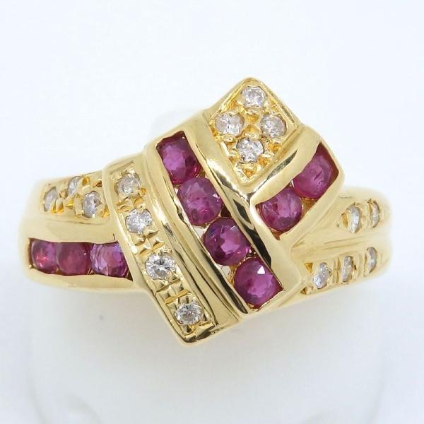 画像1: K18 ゴールド ルビー ダイヤ 指輪
