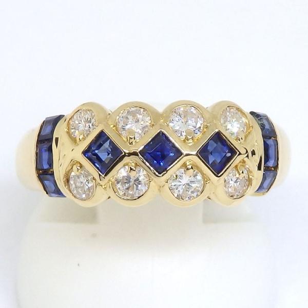 画像1: K18 ゴールド サファイア ダイヤモンド 指輪