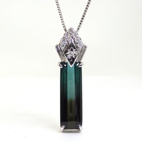 画像1:  Pt900 プラチナ パーティカラード トルマリン ダイヤモンド  ペンダント付ネックレス ソーティング付
