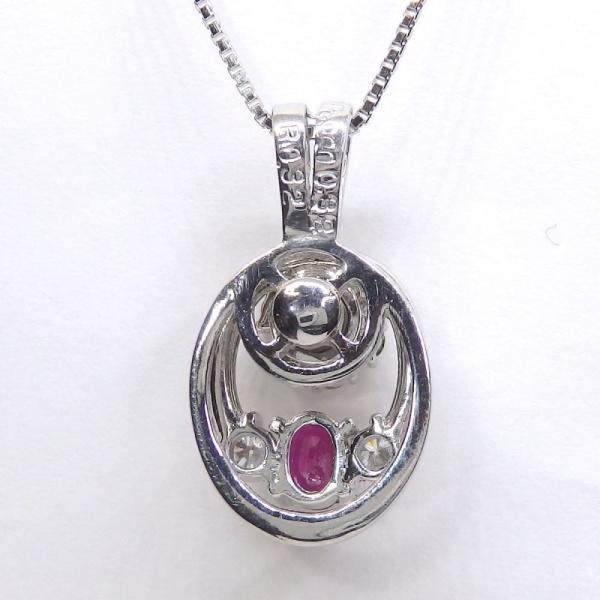 画像3: Pt900 プラチナ ルビー ダイヤモンド ペンダント付ネックレス スウィング