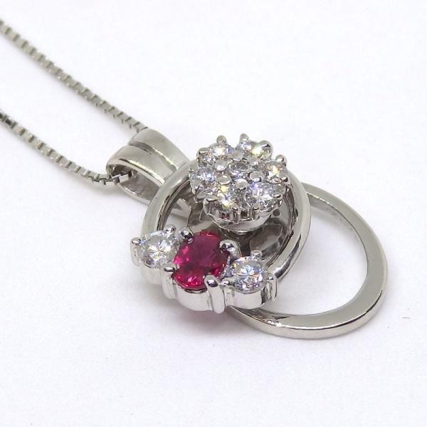 画像4: Pt900 プラチナ ルビー ダイヤモンド ペンダント付ネックレス スウィング