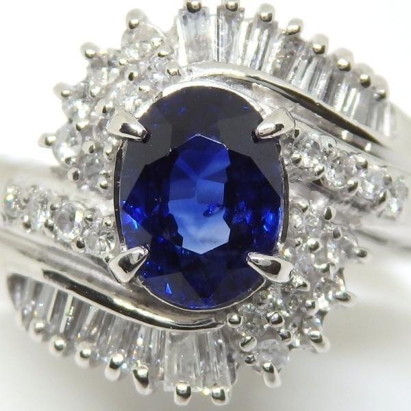 画像3: Pt900 プラチナ サファイア  ダイヤモンド 指輪