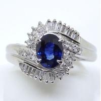 Pt900 プラチナ サファイア  ダイヤモンド 指輪