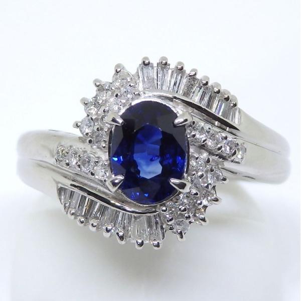 画像1: Pt900 プラチナ サファイア  ダイヤモンド 指輪