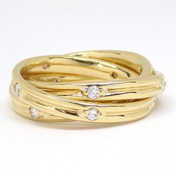 画像1: K18 ゴールド ダイヤモンド 0.55ct 指輪  3連リング